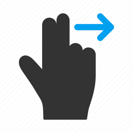 fingers, hand, mobile gesture, move, right, slide, touch gestures icon