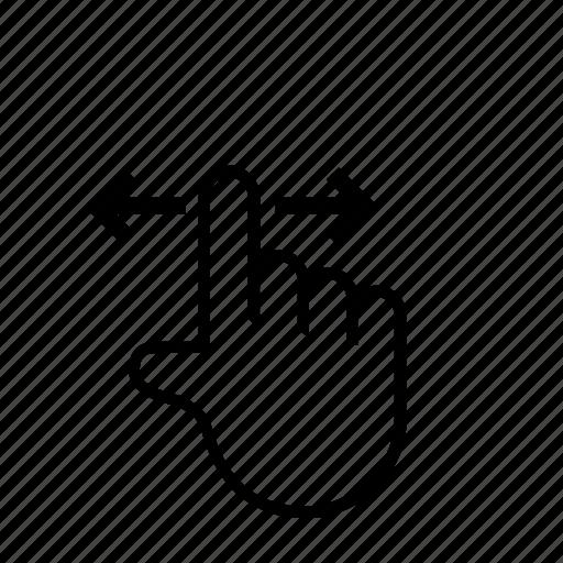 1 finger, horizontal, press, swipe, touch icon