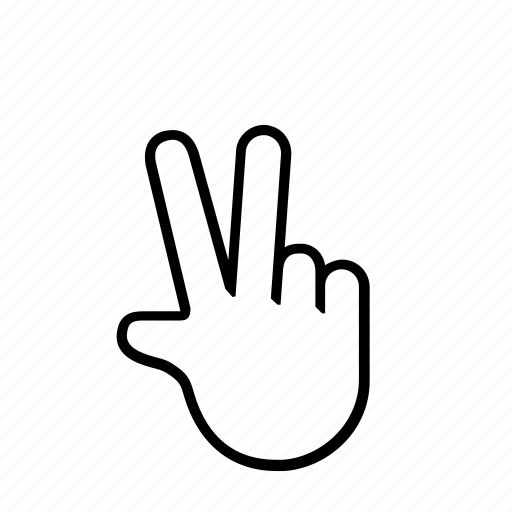 2 finger, hand, press, touch icon