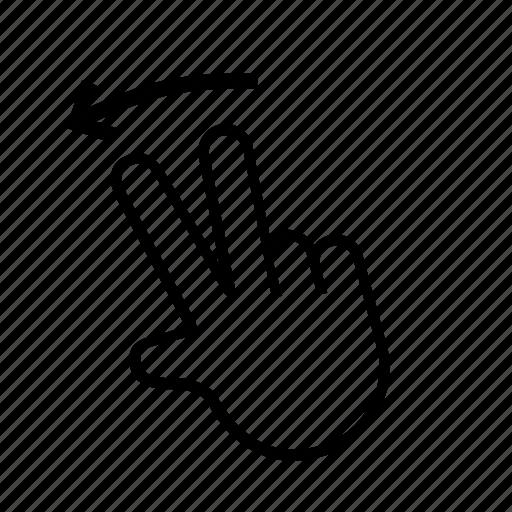 left, press, swipe, touch icon
