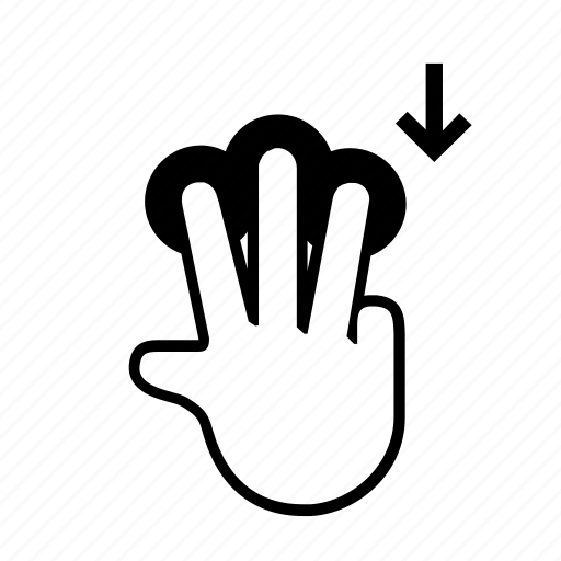 3 finger, down, drag, press, slide, swipe, touch icon