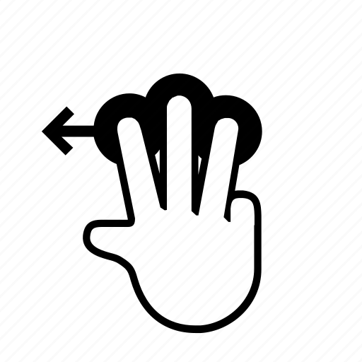 3 finger, drag, left, press, slide, swipe, touch icon
