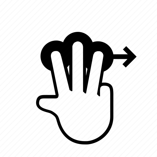 3 finger, drag, press, right, slide, swipe, touch icon
