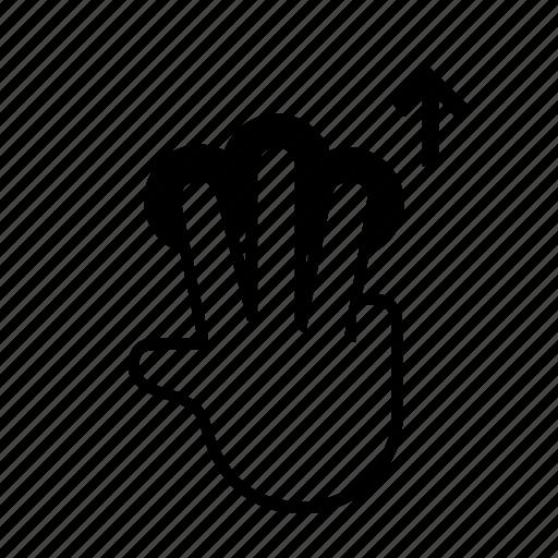 3 finger, drag, press, slide, swipe, touch, up icon