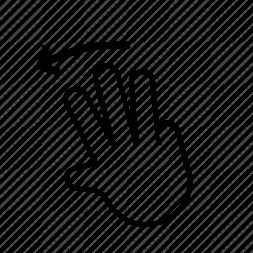 3 finger, left, slide, swipe, touch icon