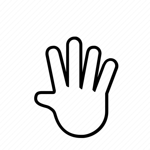 5 finger, hand icon