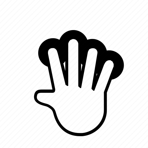 4 finger, hold, touch icon