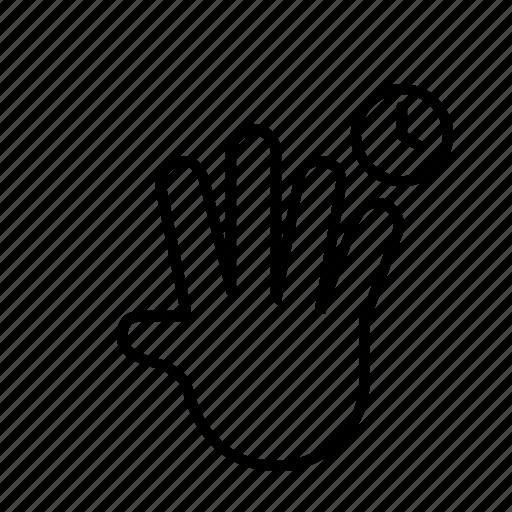 4 finger, 5 finger, hand, hold, timer icon