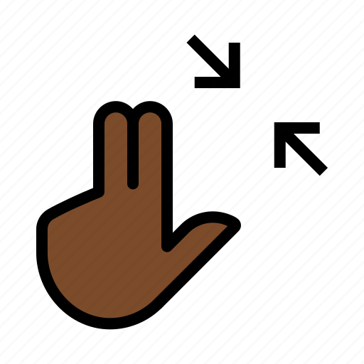 contract, gesture, pinch, squeeze, three finger, touch icon