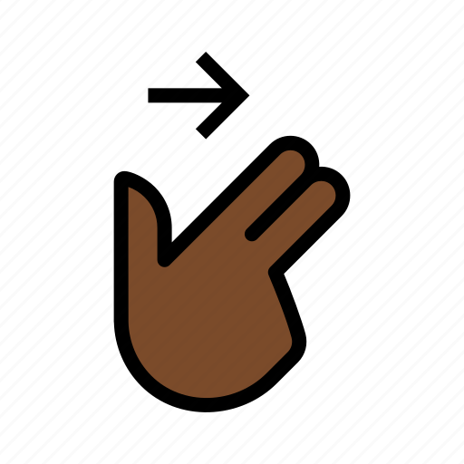 gesture, swipe, swipe right, touch, two finger icon