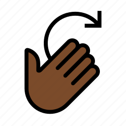 gesture, hand, rotate right, swipe right, wax on icon