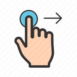 computer, finger, hand, right, sign, swipe, technology icon