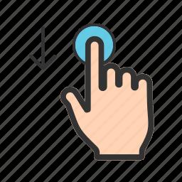 arrow, down, drag, gesture, slide, swipe, touch icon