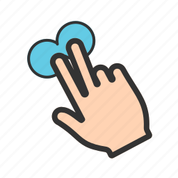 finger, gesture, hand, pointing, sign, touch, two icon