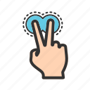 fingers, gesture, hand, pointing, sign, touch, two icon