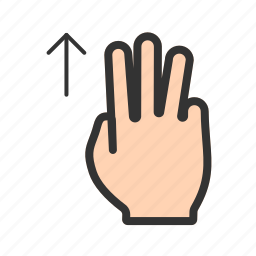 device, down, fingers, gesture, hand, system, three icon