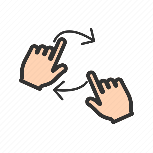 finger, hand, line, rotate, swipe, three, touch icon