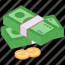 asset, capital, finance, money, money stack icon
