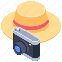 camera, hat, holiday, photography, vacation icon