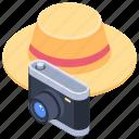 camera, hat, holiday, photography, vacation