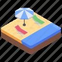 beach, beach bed, outdoor furniture, sun tanning, sunbath icon