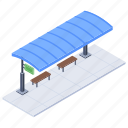 bus stand, bus stop, bus terminal, local transport, waiting area icon