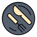 dish, knife, lunch, spoon