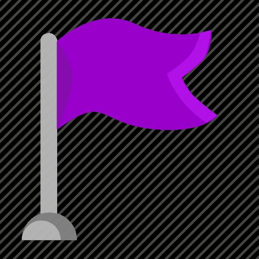 flag, navigation, pointer, target, violet icon