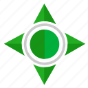 compass, green, navigation, pointer, ways icon
