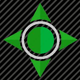 compass, green, navigation, pointer, ways icon