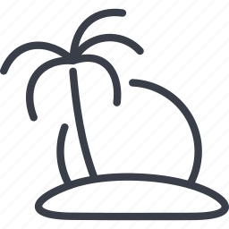 island, palm, tourism, travel icon