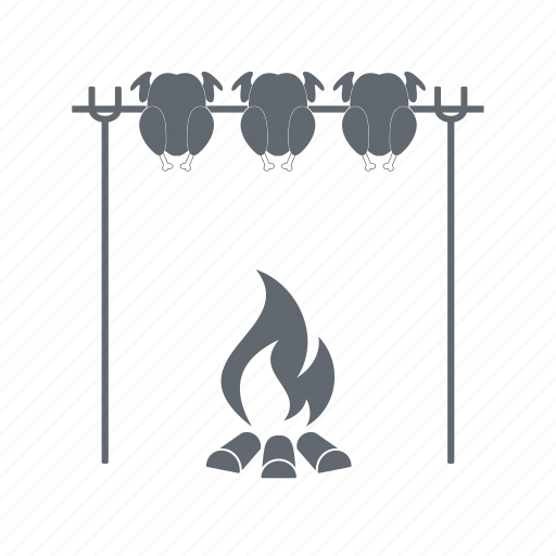 barbecue, bonfire, chicken, skewer icon