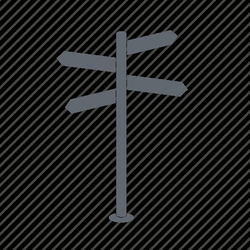 crossroad, road, signpost, travel icon