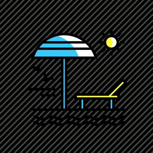 adventure, beach, beach umbrella, lounge, relax, travel, umbrella icon