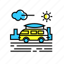 adventure, camper van, road trip, travel, van icon