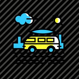 adventure, camper van, road trip, travel, van icon