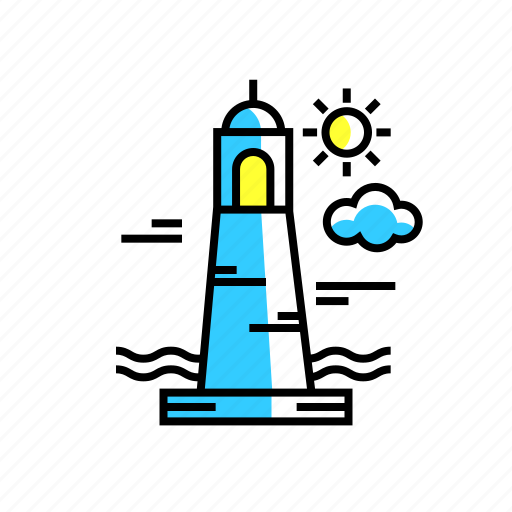 adventure, beach, lighthouse, ocean, ships, travel, watch tower icon
