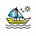 adventure, boat, ocean, sailboat, sailing, ship icon