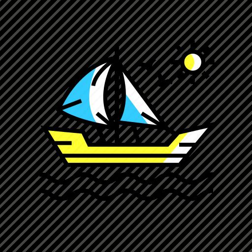 adventure, boat, ocean, sailboat, sailing, ship icon