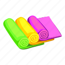roll, beach, sport, cartoon, stack, towel, spa icon