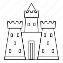 castle, line, medieval, outline, palace, thin, tower icon