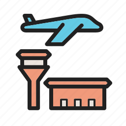 airplane, airport, flights, road, sign, town, travel icon