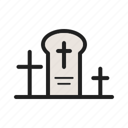 death, funeral, grave, graveyard, stone, tomb, town icon