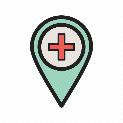 city, hospital, location, road, street, town, travel icon