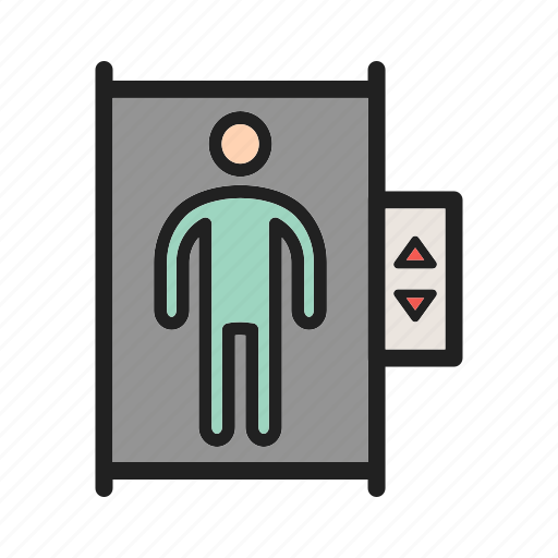 door, elevator, lift, office, town, wall icon