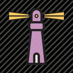 beacon, light, lighthouse, nautical, sea, sign, travel icon