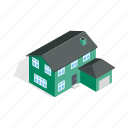 garage, home, house, isometric, residential, storey, two