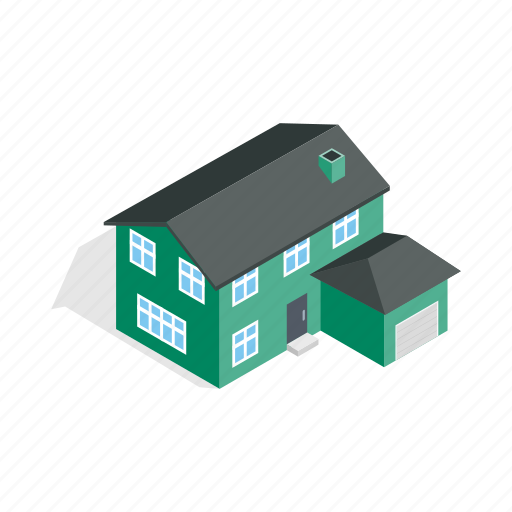 garage, home, house, isometric, residential, storey, two icon