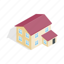 estate, home, house, isometric, residential, storey, two icon