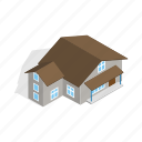 estate, home, house, isometric, residential, storey, three icon